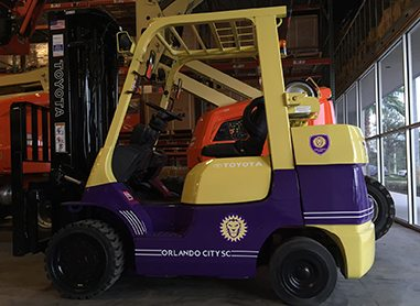 An Orlando City SC custom forklift