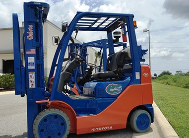 A custom Gators forklift