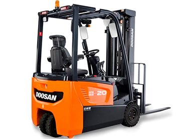 A Doosan three-wheel electric forklift